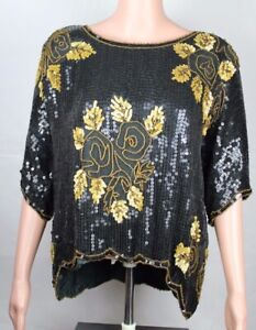 Vintage-Royal-Feelings-women-039-s-silk-top-blouse-black-gold-sequin-beaded-size-L