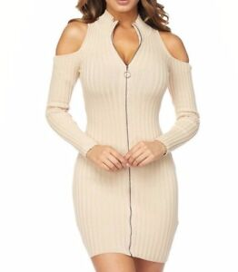 12c71759def Image is loading Nude-Ribbed-Long-Sleeve-Cold-Shoulder-Front-Zip-