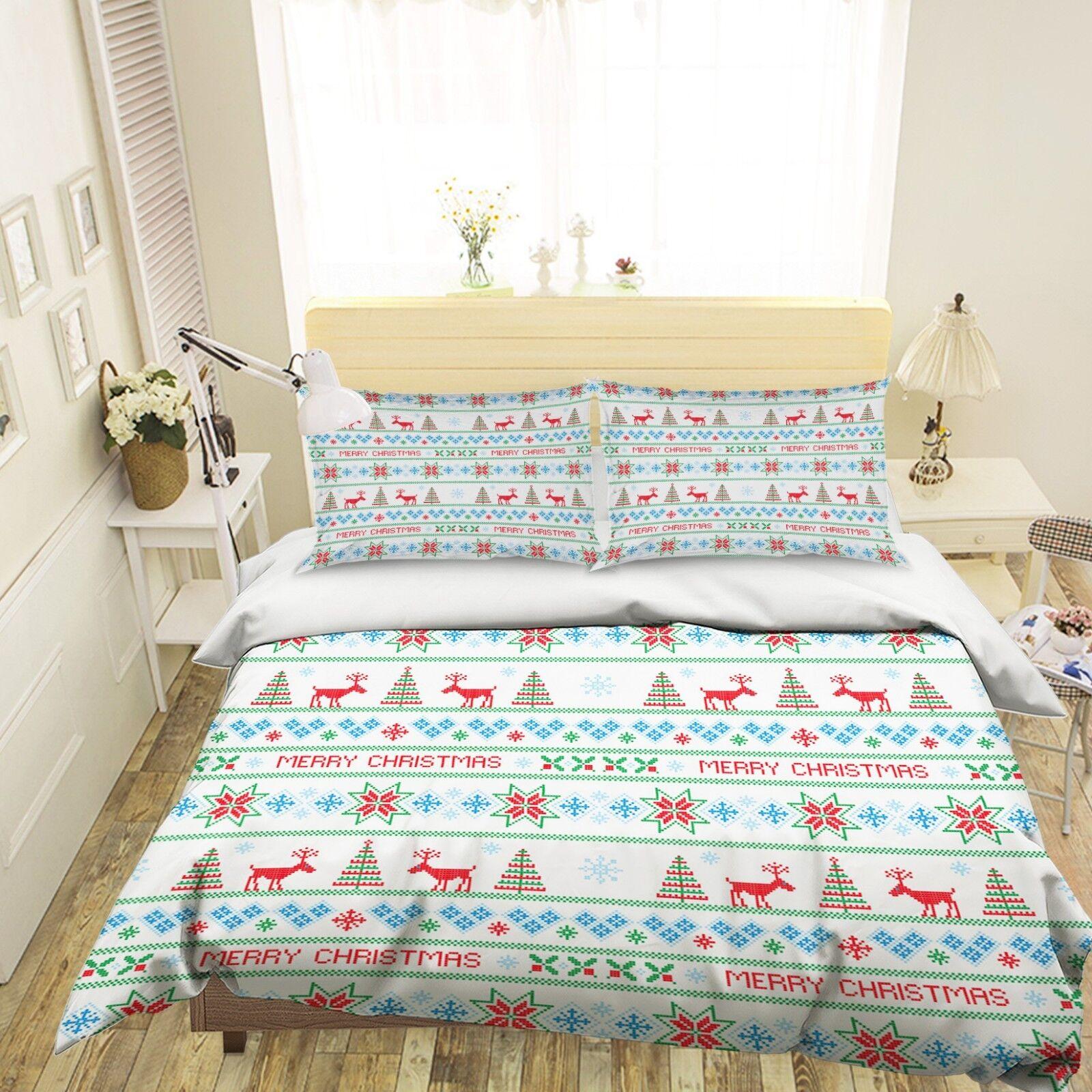 3D Christmas Xmas Texture 6 Bed Pillowcases Quilt Duvet Cover Set Single King UK