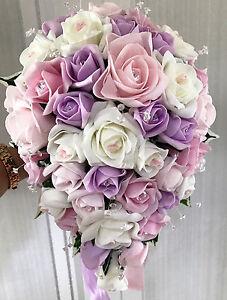 Bouquet A Goccia Sposa.Spose Nozze Fiori A Goccia Bouquet Lilla Rosa Avorio Con Strass