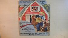 RARE Star-Bright RED Record + Punch-Out Toys OLD MACDONALD 78rpm 1949
