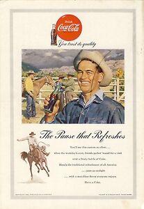 Details about 1953 Antique Original COCA-COLA Ad COKE Vintage Cowboy Ranch  Scene Americana