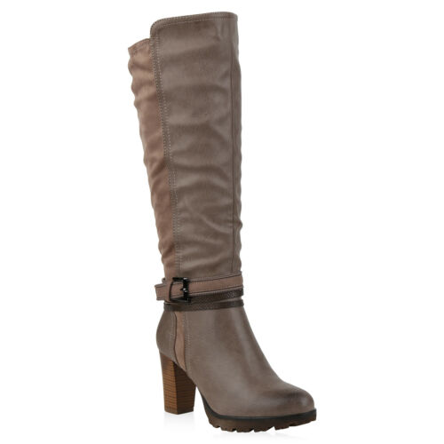 Gefütterte 825360 Zipper Boots Damen Stiefel Schnallen Klassische Leicht Schuhe TtzBqwv