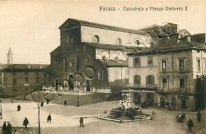 Cartolina-di-Faenza-chiesa-e-piazza-Umberto-I-Ravenna