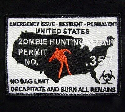ZOMBIE HUNTING PERMIT .357 OUTBREAK HUNTER ORIGINAL VELCRO® BRAND FASTENER PATCH