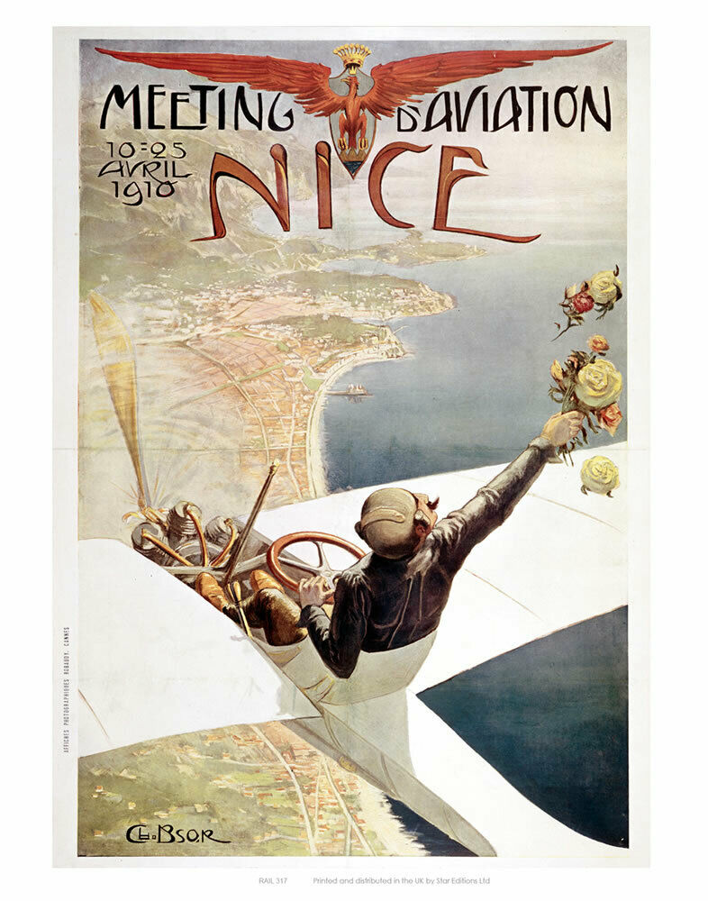 200061 Aviation 'd Nice Vintage Early Aviation Wall Print Poster CA