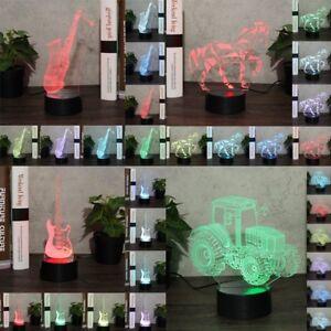 Guitar-Horse-Saxophone-3D-Night-Light-Colorful-LED-USB-Lamp-Touch-UK