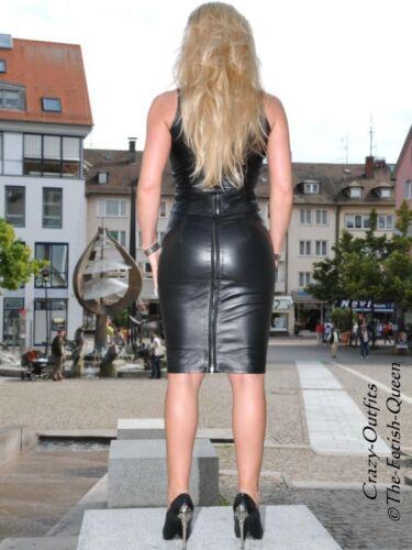 Leder Rock Lederrock Schwarz Knielang 32-58 XS XXXL