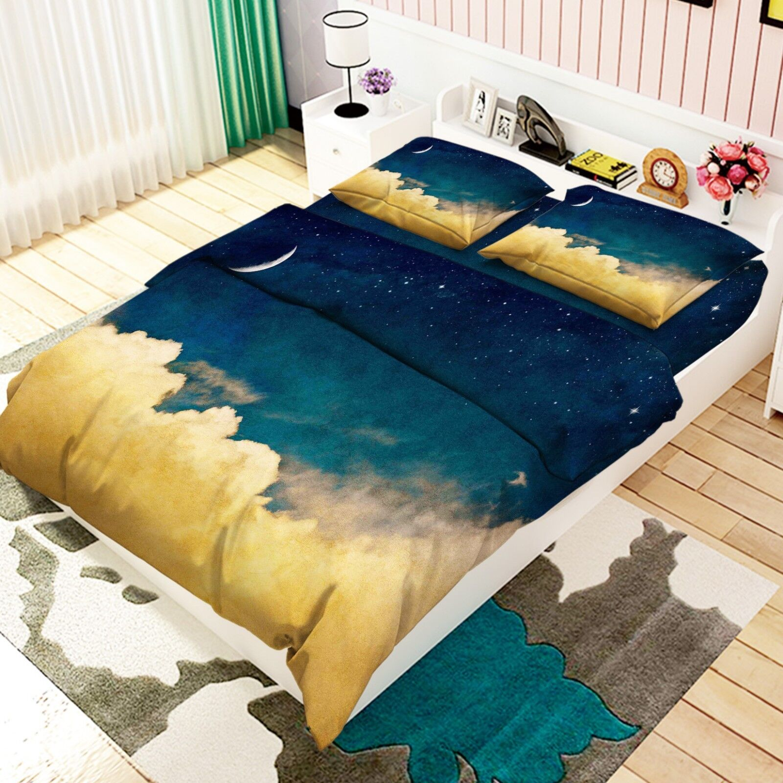 3D Night Sky Clouds 9 Bed Pillowcases Quilt Duvet Cover Set Single Queen King CA