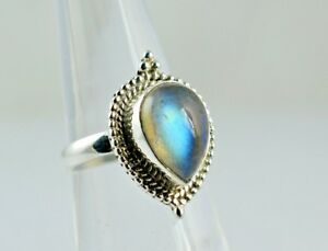 Flashy-Blue-Fire-Labradorite-925-Solid-Sterling-Silver-Handmade-Ring-Size-3-13