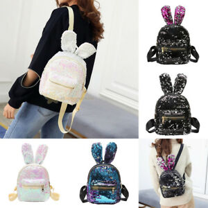 Women Mini Sequin Backpack Girl Cute Rabbit Ear Rucksack Shoulder ... e3a510180b8f9