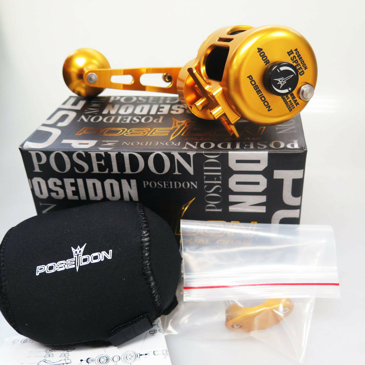 POSEIDON 400R 2 Speed Reel RIGHT SALTWATER GD Blk HEAVY DUTY 2DAYS FEDEX TO US