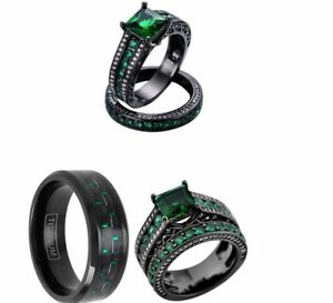 HIS TITANIUM AND HER BLACK GREEN CZ STAINLESS STEEL ENGAGEMENT