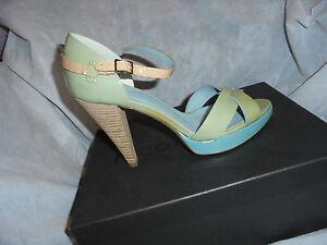 Nicole Heel 6 39 Ladies patent Eu Pale Size Sandal Farhi Leather Uk Vgc Blue CCwY6rx