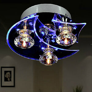 Image Is Loading Moon Star Retro Crystal Ceiling LED LIghts Dining