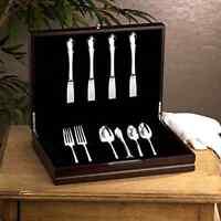15 Silverware Chest Wood Flatware Kitchen Utensils Storage Box Set Dark Walnut