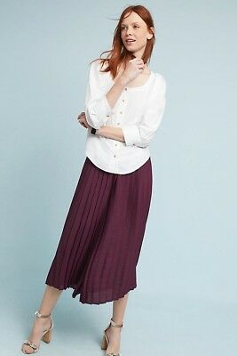 Anthropologie Women/'s pleated cropped wide-legs pants FeatherBone $128 price NWT