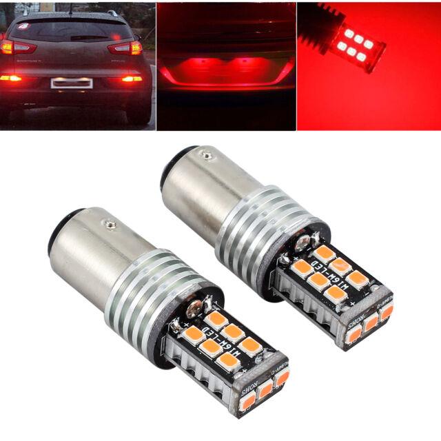 2X 12V BAY15D 1157 CANBUS P21/5W CAR 15 LED BRAKE TAIL STOP LIGHT 2835 RED BULBS