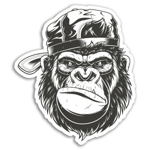2 x 10cm Grumpy Gorilla Vinyl Stickers Monkey Sticker Laptop Luggage #17687
