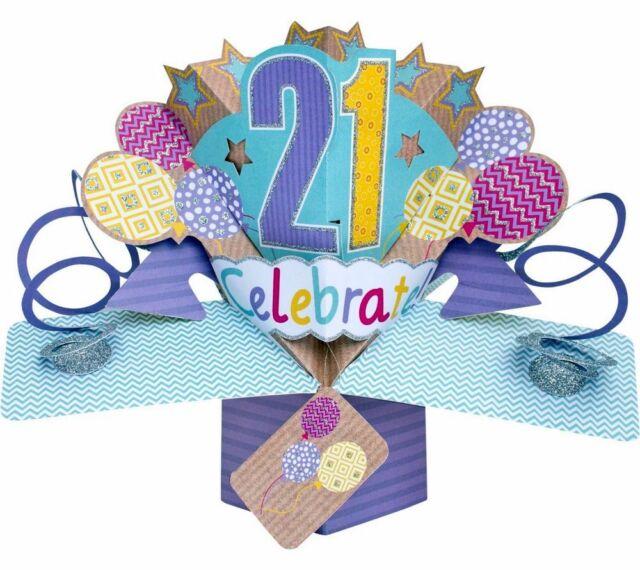 3d pop up card happy 21st birthday girl celebration 21 greeting