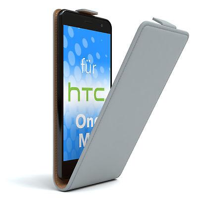 Tasche für HTC One M9 Flip Case Schutz Hülle Cover Etui Hellgrau