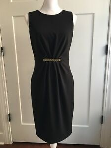 e2c7d9c7c9c Women s Calvin Klein Black Sleeveless Sheath dress Gold Buckle size ...