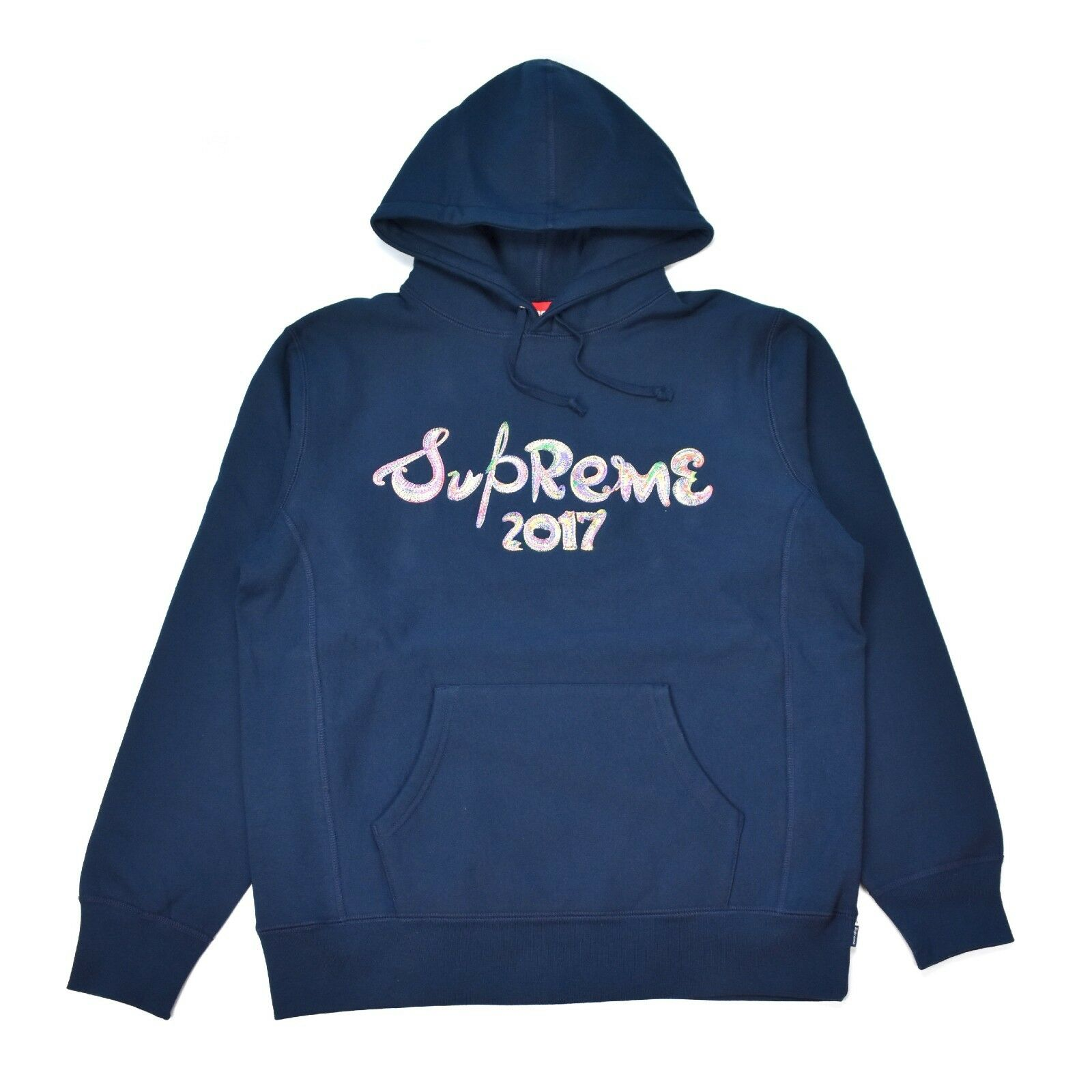 NWT Supreme NY Men's Navy Paint Brush Logo Embroidered Hoodie FW17 L AUTHENTIC