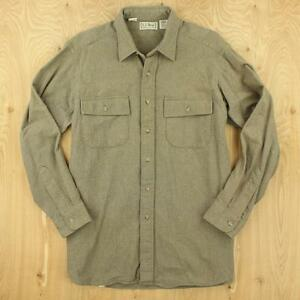 vtg-usa-made-LL-BEAN-chamois-flannel-camp-shirt-LARGE-faded-distressed
