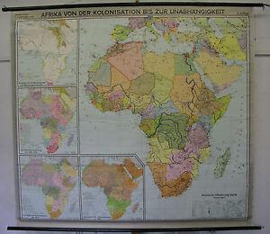 Karte Afrika Kolonien.Details Zu Schulwandkarte Wandkarte Schulkarte Karte Afrika Von Kolonien Bis 1962 207x188cm