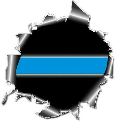 Thin Blue Line Ripped Metal Police Officer Decal / Sticker #147 Made in USA