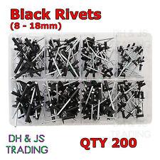 Assorted Box of Black Pop Rivets (Most Popular) Black 8 Sizes Qty 200 Aluminium