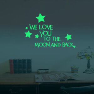 we love you to the moon and back 3d star glow in the dark wall