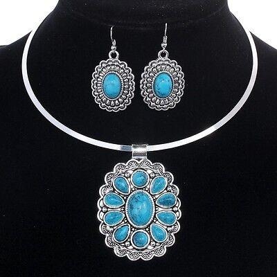 Vintage Tibetan silver Blue Turquoise flower pendant bib Necklace hook Earrings