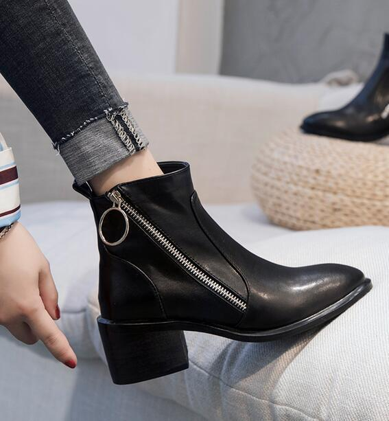 Women Chelsea Boots Real Leather Retro Retro Retro High Heel shoes Side Zip British shoes Sb ad91d6