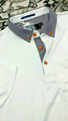 Details about  /NWT Blanc men/'s size M short sleeve polo shirt,contrast button down collar pock