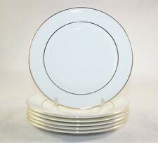 WHITE AND GOLD PLATES 6 INCHES ENGLISH FINE BONE CHINA SET OF 6 FRENCH EDGE