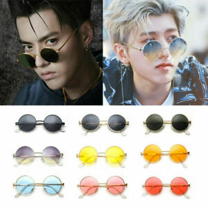 Women-Men-Colorful-Circle-Round-Sunglasses-Vintage-Creative-Hippie-Glasses-NEW