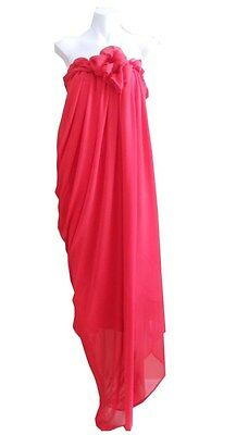 VINTAGE HARAH DESIGNS RED CHIFFON FULL LENGTH STRAPLESS DRESS