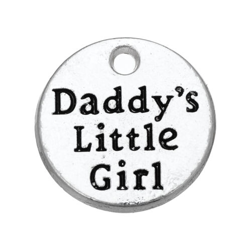 10Pcs Daddy/'s Little Girl Charm Vintage Round Silver Pendant Findings Lot