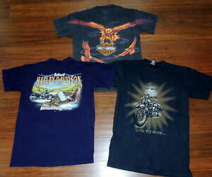 3-Harley-Davidson-Motorcycle-T-Shirts-Size-M-Graphic-Eagle-Pa-Winchester-Va
