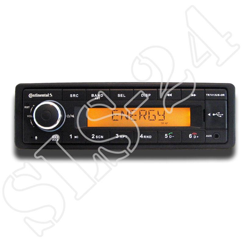 autoradio: Continental TR7412UB-OR MP3-Autoradio mit Bluetooth USB AUX-IN