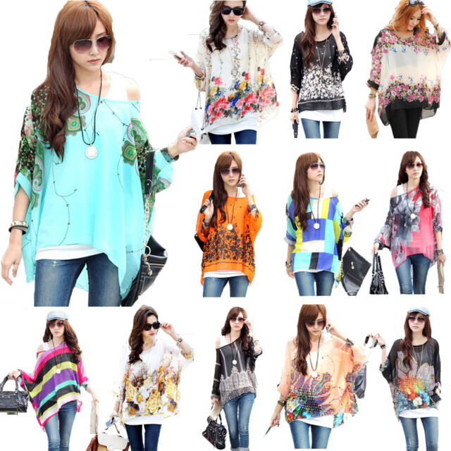 Women Bohemian Blouse Oversize Batwing Sleeve Chiffon Tops Retro Print Shirt Lot