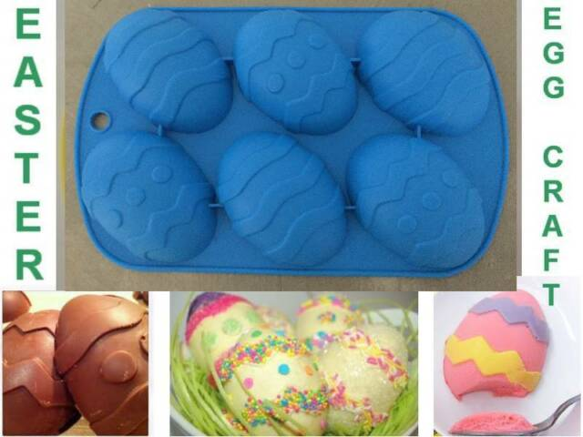 Easter Egg Large Silicone Cake Chocolate Soap Plaster Ice Crayon Mould Mold Fun