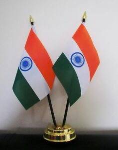 INDIA-X2-TABLE-FLAG-SET-2-flags-plus-GOLDEN-BASE-INDIAN