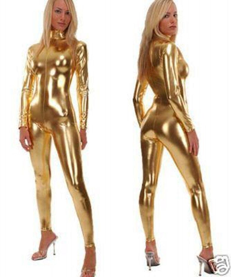 12Colour Front zip Metallic lycra Zentai Discowear Zip Up Wear Catsuit Body suit