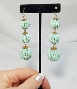 Vintage-Mint-Green-Seed-Bead-Covered-Bon-Bon-Globe-Dangle-Earrings
