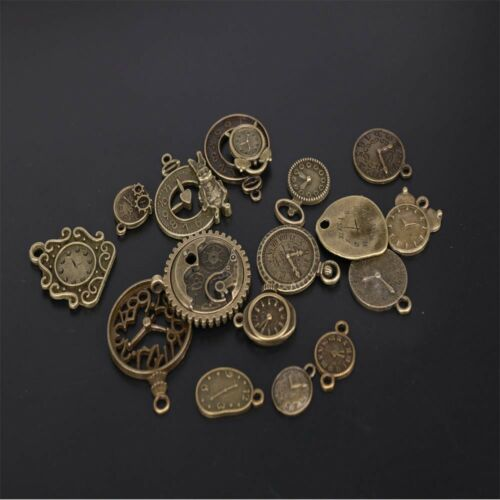 18pcs Metal Zinc Alloy Mixed Clock Pendant Steampunk Clock Charms for Diy Charms