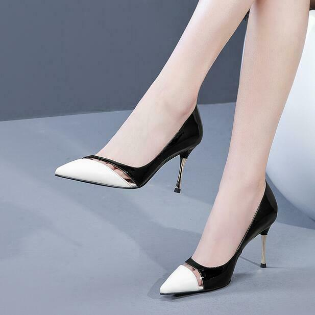 Formal Women's shoes Pointy Toe Slip-on Pumps High Stiletto Heel Leather Pumps