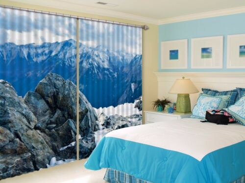 3D Hills Snow 8 Blockout Photo Curtain Printing Curtains Drapes Fabric Window AU