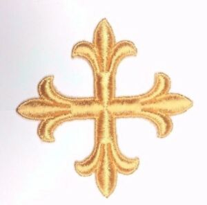 Vintage-Frances-Cruz-Fleury-Bordado-3-034-para-Coser-Oro-Altura-Emblema-Parche-2PC